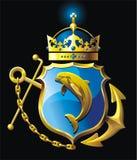 Wappen mit Delphin. Stockbilder