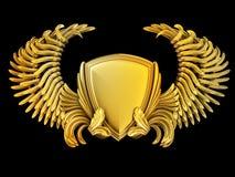 Wappen mit Flügeln und Schild Lizenzfreie Stockfotos