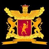 Wappen mit Schild, Löwen und Krone Stockfotografie