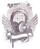 Wappenkunde mit Kopfhörern lizenzfreie abbildung