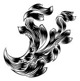 Wappenkunde-Rollen-mit Filigran geschmücktes mit BlumenDesign stock abbildung