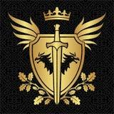 Wappenkundeschild mit Drachen, Flügeln und Klinge auf Muster Lizenzfreie Stockfotos