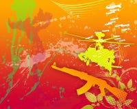 War 01. War background with machine gun and chopper Stock Photos