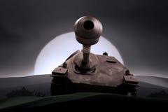 War. Dark war with an old tank Royalty Free Stock Photo
