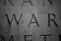 War. Photo taken on some carvings on a stone at a war memorial Stock Image