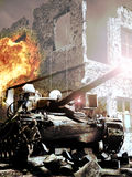 War. A soldier runs close to a war tank, in the middle of ruins and destruction royalty free stock photos