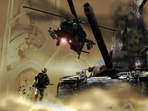 War. A soldier runs close to a war tank, in the middle of ruins and destruction, whereas a helicopter fires at him stock illustration