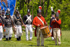 War of 1812 re-enactment of marching band Royalty Free Stock Photos