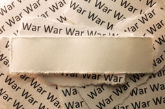 War. Picture of a blank paper with word war in the back Royalty Free Stock Images