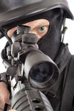War. Shot of a soldier holding gun. Uniform conforms to special services Royalty Free Stock Photography