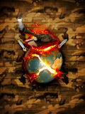 War. Earth is shattered by war. Black tank on a fiery planet Earth with a camouflage background Royalty Free Stock Images