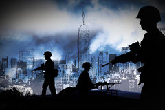WAR. Silhouettes of any Soldiers in new york Stock Photo
