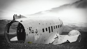 Plane wreck on the coast of Iceland royalty free stock image