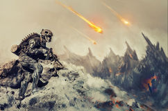War on an alien planet. Futuristic mechanical soldier in action on an alien planet Stock Images