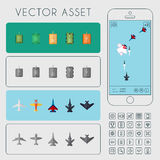 War Arcade Game. Vector Asset. Vector asset for arcade game interface. Combat aircrafts and tanks Stock Photo