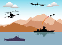 War area. Abstract colorful illustration with war ship launching a rocket, submarine, helicopter and war plane. Conflict area theme Royalty Free Stock Images