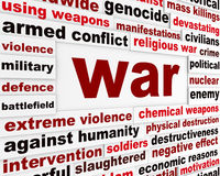 War armed conflict message. Genocide against nations warning poster Royalty Free Stock Photography