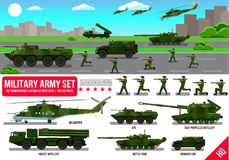 War Army military vehicles set with tank, rocket artillery, helicopter, troopers soldiers, armored car, armored carrier, in desert Stock Photos