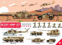 War Army military vehicles set with tank, rocket artillery, helicopter, troopers soldiers, armored car, armored carrier, in desert Stock Photography