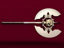 War axe. On a maroon background Royalty Free Stock Photos