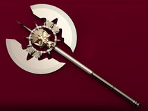 War axe. On a maroon background Royalty Free Stock Images