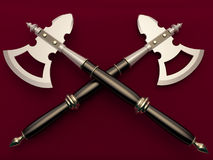 War axe. On a maroon background Stock Photography
