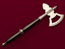 War axe. On a maroon background Stock Photo