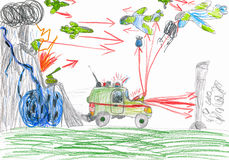 War battle. child drawing. Royalty Free Stock Photo