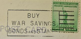 War Bond American Postmark Industry Agriculture For Defense Royalty Free Stock Images