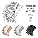 War bonnet icon in cartoon style isolated on white background. USA country symbol stock vector illustration. Royalty Free Stock Images