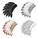 War bonnet icon in cartoon style  on white background. USA country symbol stock vector illustration. Royalty Free Stock Image