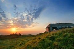 War bunker near sea at sunset Royalty Free Stock Photography