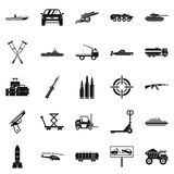 War burden icons set, simple style Royalty Free Stock Images
