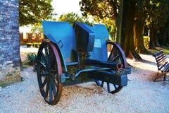 War cannon, at Castello, Conegliano Veneto, Treviso. War cannon placed at Castello, used in world war, outside the medieval fortress, in Conegliano Veneto Stock Photo