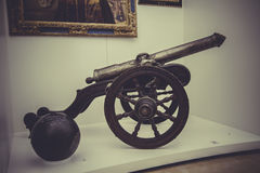 War cannon on white background. Spanish Armada Royalty Free Stock Images