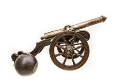 War cannon on white background. Spanish Armada Royalty Free Stock Image