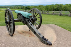 War canon on cement station where civil war was fought Royalty Free Stock Photo