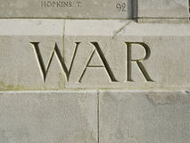 War carved in memorial Royalty Free Stock Images