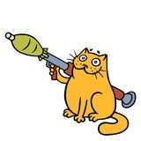 War cat with a grenade launcher. Vector Illustration. Cute orange cartoon pet character Royalty Free Stock Photography