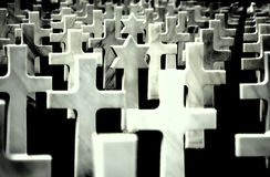 War cemetery. Group of crosses on a military war cemetery. Photographic filter used to enhance the image Stock Images