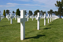 War cemetery. Group of crosses on a military war cemetery near Omaha beach, France Royalty Free Stock Image