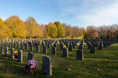 War-cemetery in Ghent, Respectful stock image