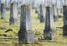 War cemetery in Romania. Gray gravestones in War cemetery in Dej city, Romania royalty free stock photography