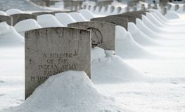 War cemetery in snow Royalty Free Stock Images