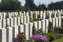 War Cemetery - The Somme - France. Graves of Unkown Soldiers in the Australian Cemetery in the Vallee de la Somme in the Le Nord & Picardy region of France. The royalty free stock photography