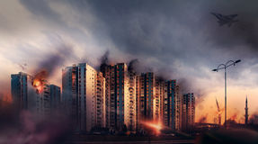 War in the city. Bombardment civilian districts Royalty Free Stock Photo