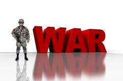War concep. Us soldier with assault rifle  and 3d red text war Royalty Free Stock Images