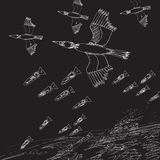 War concept. Abstract black and white illustration with birds silhouettes dropping bombs over a target.   Night scene, war concept, vector Royalty Free Stock Photos