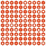100 war crimes icons hexagon orange. 100 war crimes icons set in orange hexagon isolated vector illustration Stock Photography
