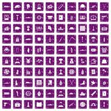 100 war crimes icons set grunge purple. 100 war crimes icons set in grunge style purple color isolated on white background vector illustration Royalty Free Stock Photography